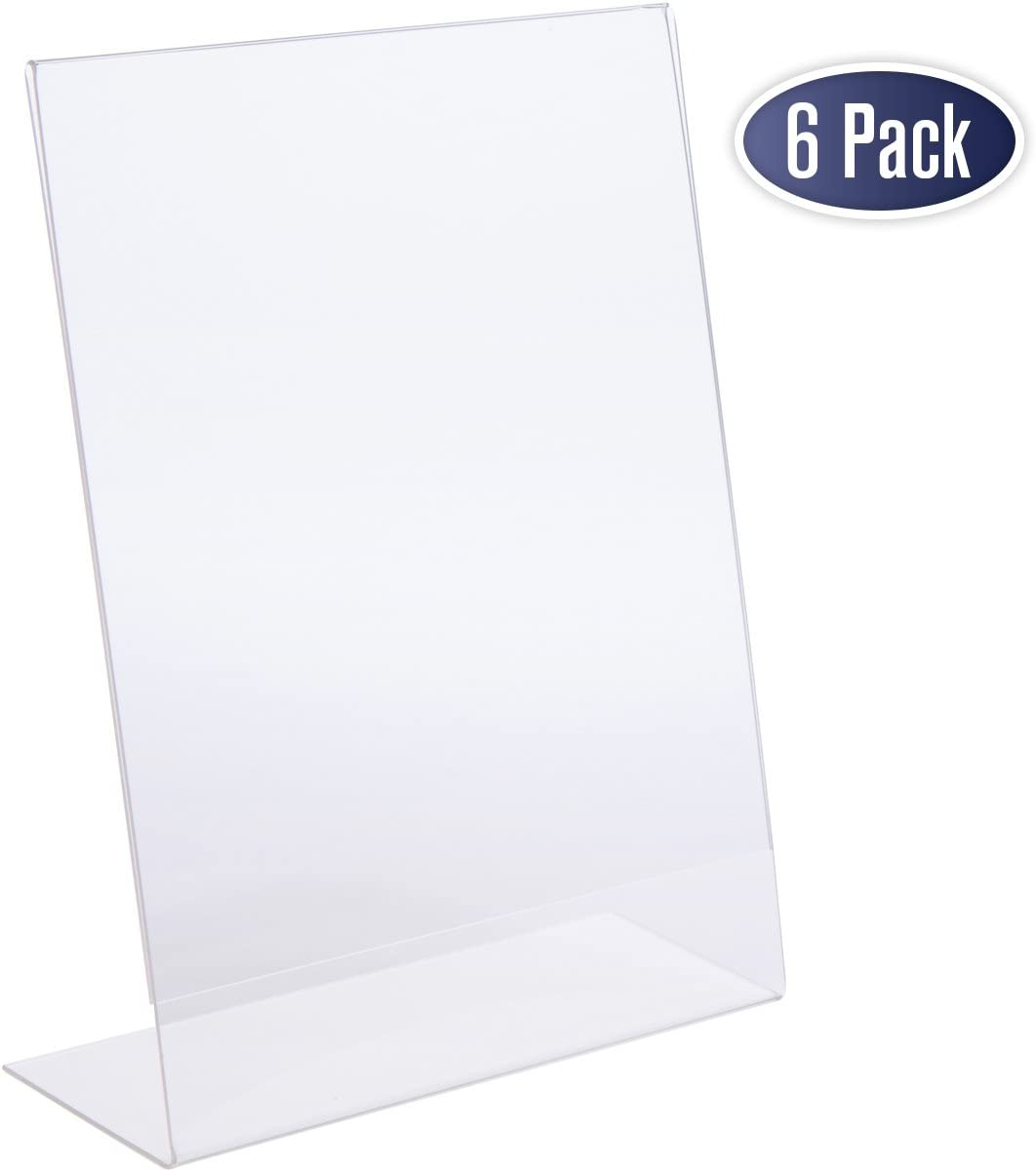 Slant Back Acrylic Sign Holder - 8.5 x 11 Inches Premium Portrait Ad Frames, Table Sign Display Holder, Clear Easel Style Frame, Plastic Brochure Holder for Home, Office, Store, Restaraunt (6 Pack)
