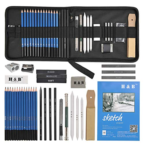 YOTINO 35pcs Drawing and Sketching Pencil Set, Professional Sketch Pencils Set in Zipper Carry Case, Art Supplies Drawing Kit with Graphite Charcoal Sticks Tool Sketch book for Adults Kids