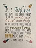 "As a Nurse Nurses Inspirational Wall Art 8.5"" x 11"" Unframed Canvas Tapestry Features Maya Angelou Quote for Your Home Decor"