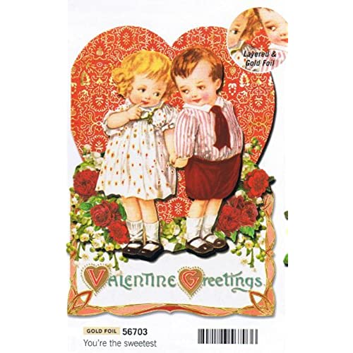 Punch Studio Dimensional Die Cut Valentine's Day Card Children Holding Hands (1) Single Card w/Env Sales