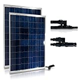 GENSSI 200W Set Polycrystalline Photovoltaic PV Solar Panel Module RV Boat with MC4 Y-Adapter