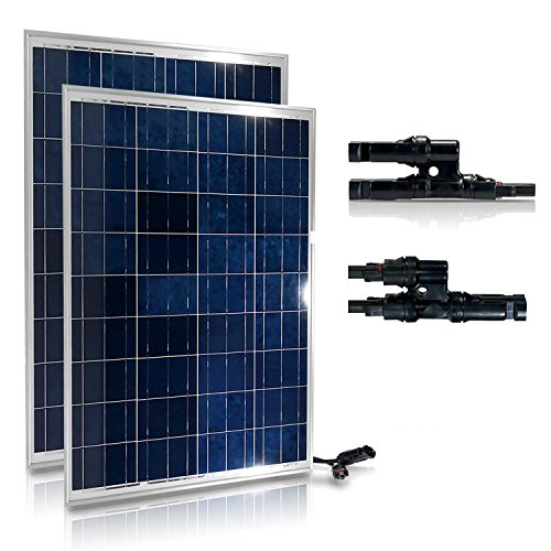GENSSI 200W Set Polycrystalline Photovoltaic PV Solar Panel Module RV Boat with MC4 Y-Adapter by Genssi