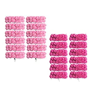 Fityle Pieces of 288 Foam Rose Flower with Stem Wedding Bouquet Home Decor Pink+Rose Red 58