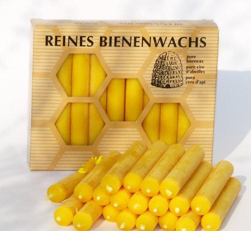 BAUMKERZEN aus 100% Imker BIENENWACHS - 20 Christbaum Kerzen aus der Schwarzwälder Kerzenmanufaktur. Höhe 10 cm
