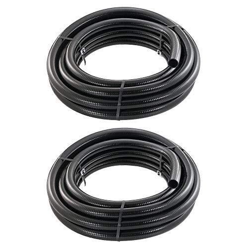 LITTLE GIANT 1.5 Inch by 50 Feet T-1-1/2-50-BFPVC Flex PVC Tubing, Black 566183 (2 Pack)