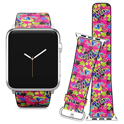 (Compatible with Apple Watch (42/44 mm) // Leather Replacement Bracelet Strap Wristband + Adapters // Girl Fashion Super Girl)