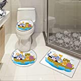 Religious bathmat toilet mat set Religious Story the Ark with Animals in the Boat Journey Faith Theme Cartoon Printed Rug Set Multicolor