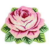 KEPSWET Modern Fashion Rugs Rose Flower Design Living Room Door Mats Pink Red Bedroom Foot Mats Washable Non-silp Home Essentials Carpet (2'6×2'0, pink red)