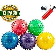 "Bounce Ball, 12 PCS Sensory Knobby Bounce Balls Party Balls Massage Balls With Air Pump Set 4.72"""