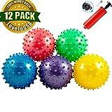 #8: LoveInUSA 12 Pack Sensory Knobby Bounce Balls Party Balls Massage Balls With Air Pump Kit