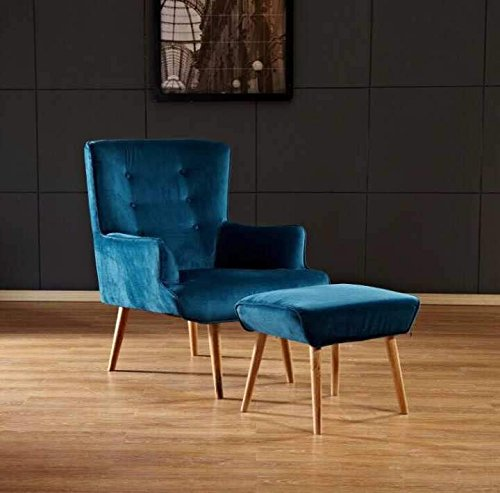 bedzonline FLAT VELVET FLORENCE CHAIR teal with stool furniture