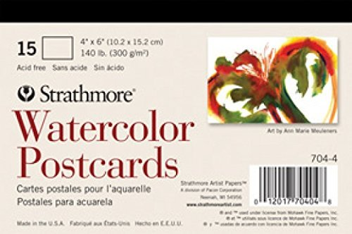 Strathmore Blank Watercolor Postcards pad of 15 (Package May Vary) - Postcards Package Cute