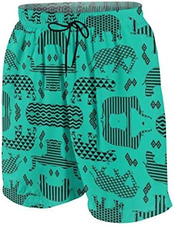 キッズ ビーチパンツ ターコイズ 幾何柄 象 サーフパンツ 海パン 水着 海水パンツ ショートパンツ サーフトランクス スポーツパンツ ジュニア 半ズボン ファッション 人気 おしゃれ 子供 青少年 ボーイズ 水陸両用
