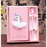 Cute Unicorn Stationery Diary Notebook and Pen, Journal Set,Gifts for Girls. (Blue)