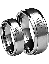 Her King/His Queen Ring Silver Stainless Steel Wedding Bands Engagement Promise Rings Anniversary Gifts