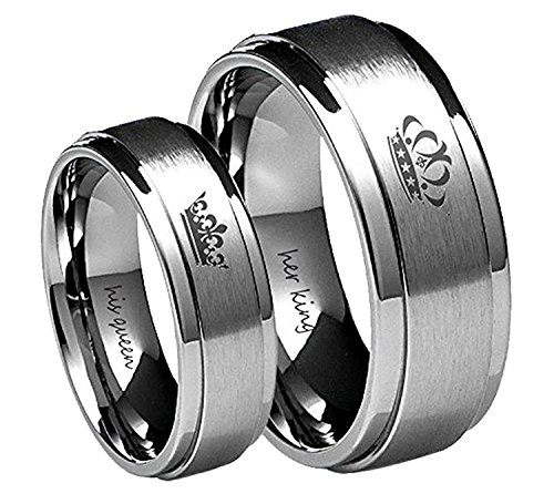 His Queen Silver Stainless Steel Wedding Band Anniversary Engagement Promise Ring 6mm (Her Size 8) (Ring Set Hers)