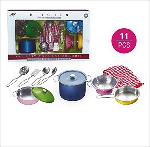 Allkindathings Childrens Toy Metal Kitchen Cooking Utensils Pots Pans Accessories Set Kids Play