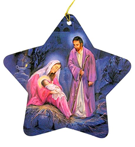 Scene Card Nativity Christmas (dtc Embossed Cardstock Star Shaped Nativity Scene Christmas Ornament, 3 Inches)