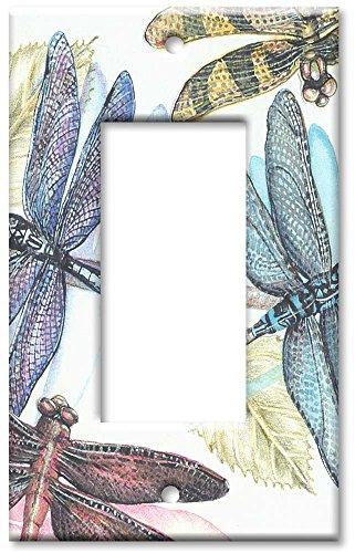 Single Gang Rocker Wall Plate - Dragonflies
