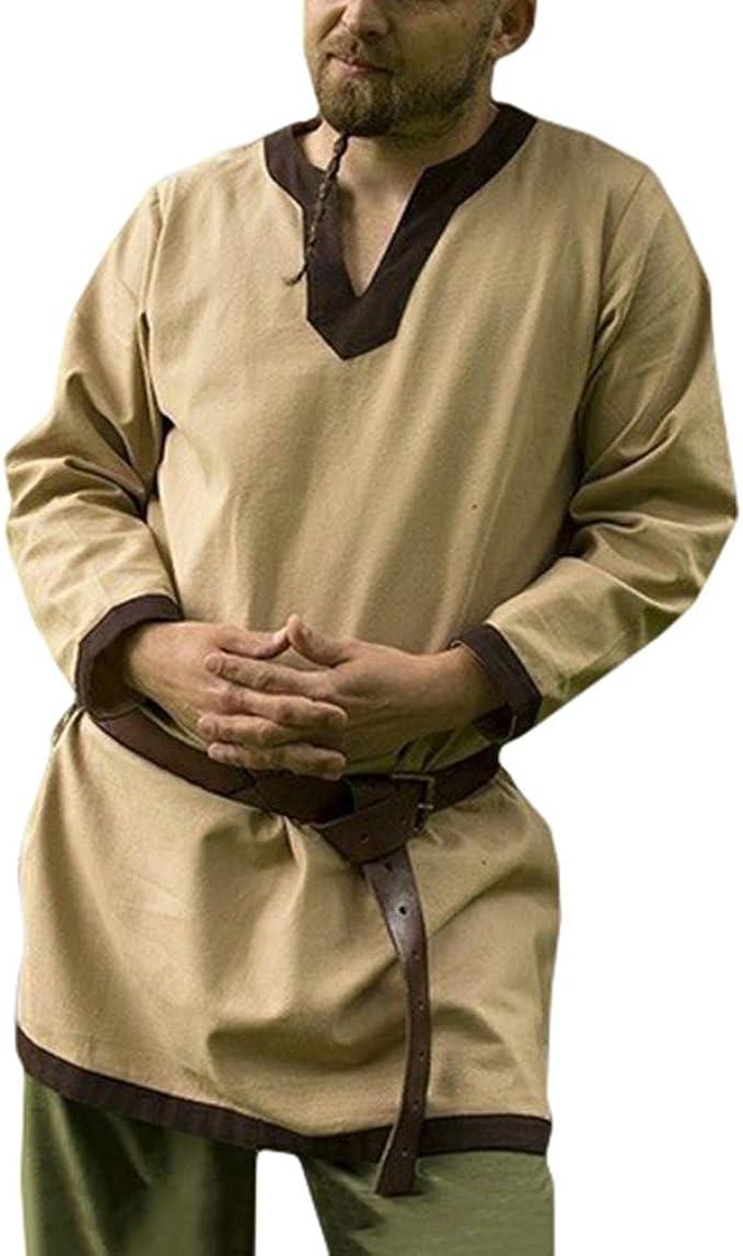 fengduo Camisa Medieval de Hombres Cuello en V Raya Camisetas Vintage Suelto Vikingo Shirt Gótico Steampunk Ropa Tradicional: Amazon.es: Ropa y accesorios