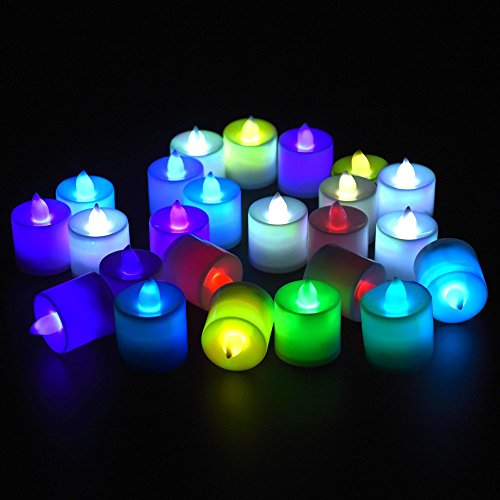 24 PCS LED candles Bulk tea lights Tealight Candles Unscented, Battery-powered, led candles color changing, led candlesticks, Wind-proof, Romantic, Excellent Decoration for Wedding, Party