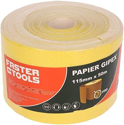 Gr/ö/ßen:40 FASTER TOOLS 50 Meter Schleifpapierrolle 115 mm erh/ältliche K/örnung 40-240