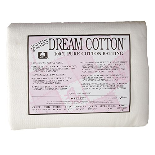 Quilters Dream Natural Cotton White Select Batting (122in x 122in) King, Natural by Quilters Dream