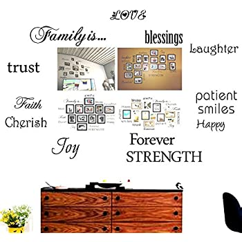 Family Wall Decals~Set of 12 Family Words Quote Art Stickers Wall Decal (No Photos and Frames Included)