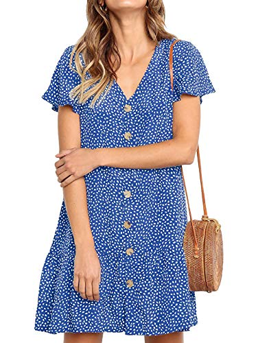 - LANREMON Women's Dresses Casual Button Down Polka Dot V-Neck Short Sleeve Ruffles Loose Fit Mini Summer T-Shirt Dress Light Blue S