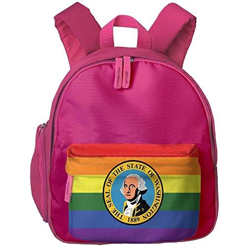 Fengyaojianzhu Washington State Rainbow Flag Fashion School Book Bag Travel Student Backpack For Toddler Kids Girls - Washington Shopping Pa