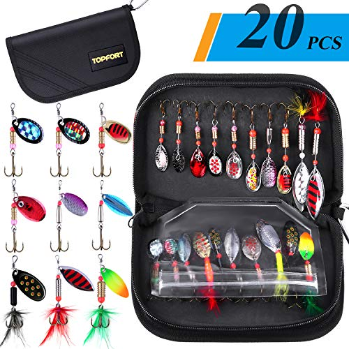 TOPFORT 20pcs Fishing Lures, Trout Lures, Spinner Baits, Bass Lures, Spinning Lures with Carry Bag