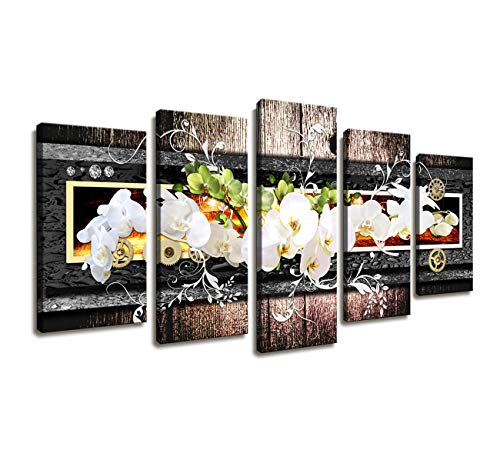 Wall Decorations for Bedroom/5 Panel Modern Framed Wall Art Butterfly Orchid Flowers Canvas Print Wall Art Painting Decor for Home Decor Wall Picture for Living Room White Floral Artwork for Walls