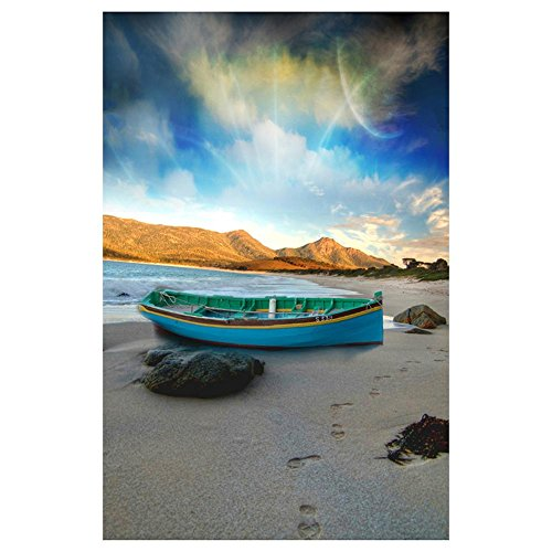 Whitelotous Beach Boat 5D Diamond Painting Embroidery DIY Craft Cross Stitch Kit for Living Room Bedroom Decor 10 X 14 inch