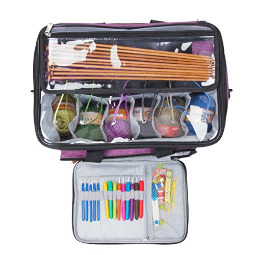 """Knitting Bag,Yarn Tote Organizer with Inner Divider for Crochet Hooks, Knitting Needles(up to 14""""),Project and Supplies,Easy to Carry,High Capacity (Purple) by BENGDA (Image #4)"""