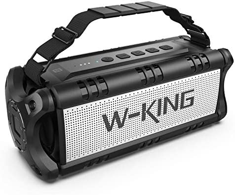 50W(70W Peak) Bluetooth Audio system Constructed-in 8000mAh Battery Energy Financial institution, W-KING Wi-fi Outside Transportable Waterproof TWS, DSP, NFC Speaker, Highly effective Wealthy Bass Loud Stereo Sound (Black)
