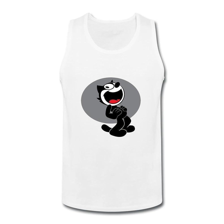 OULIN Men's Felix The Cat Cartoon Vest White XXXL