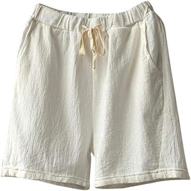 Pantalones Cortos para De De Lino Pantalones Mujer Algodón Cintura ...