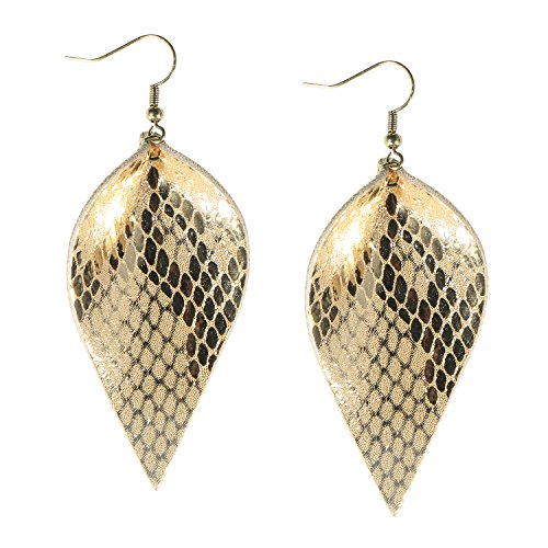 - Me&Hz Gold Leather Leaf Earrings for Women Girls Statement Leather Dangle Teardrop Earrings Antique Jewelry