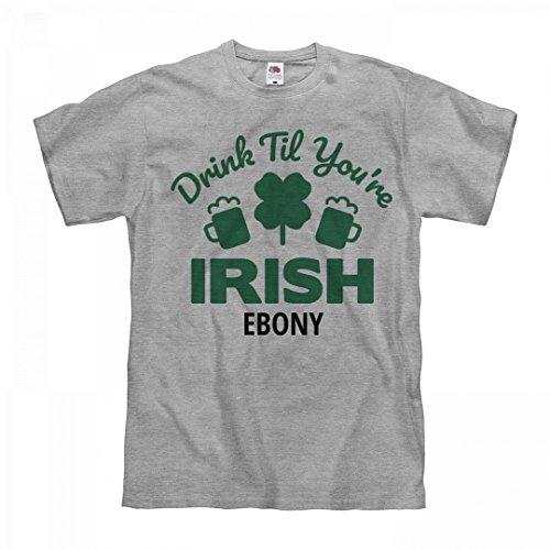 FUNNYSHIRTS.ORG Drink Til You're Irish Ebony: Unisex Fruit of The Loom Midweight - Tequila Ebony