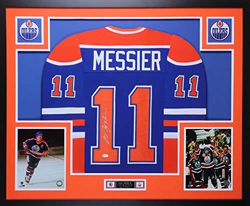 Mark Messier Autographed Signed & Framed Blue Oilers Jersey Auto Memorabilia JSA COA D2-L