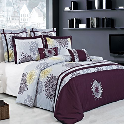 Queen Size Fifi Lilac and Plum 14PC Bed in a Bag set including: 7pc Duvet Cover Set, 1pc Down Alternative Comforter, set of 2 Down Alternative Pillows and a 4pc Sheet Set.