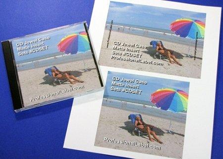 CD Jewel Case Matte Printable Inserts Front and Back Sets 50 Sheets #CDSET ()
