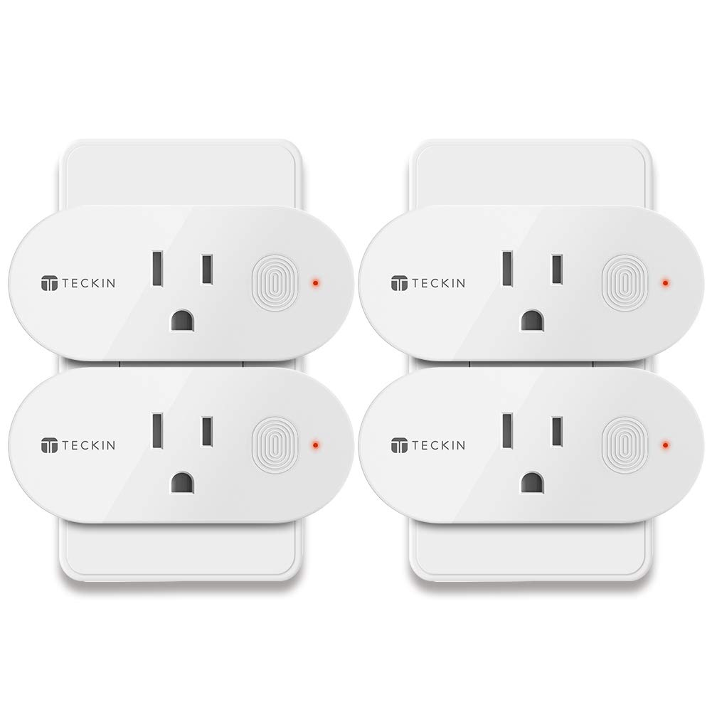 Smart Plug Wifi Outlet Compatible With Alexa, Echo, Google Home and IFTTT, Teckin Mini Smart Socket with Energy Monitoring and Timer Function, No Hub Required,16A, 4 Pack (4 pack)