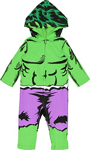 Marvel Avengers The Hulk Baby Boys' Zip-Up Hooded Costume Coverall (24 Months) -