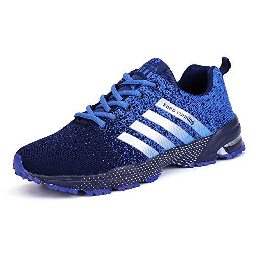 GSLMOLN Men's Sneakers Fashion Mesh Ultra Lightweight Sport Running Shoes Mens Cross Training Slip-On Athletic Shoes Blue 46