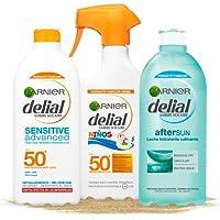 Garnier Delial Kit de Protección Solar, incluye Spray Niños SPF 50+ (300 ml), Leche Solar SPF 50+ (400 ml) y Leche…
