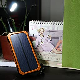 Solar Battery Charger, X-DRAGON 15000mAh Dual USB Portable Solar Charger for iPhone 7 7s 6 Plus 5S 5C 5 4S, iPod, Samsung Galaxy S6 S6 Edge, Gopro Camera and More-Orange (S15000-orange)