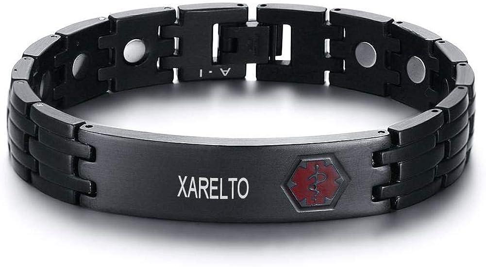 VNOX Custom Engraivng-12MM Medical Alert ID Stainless Steel Magnet Adjustable Link Bracelet Wristband for Men Women