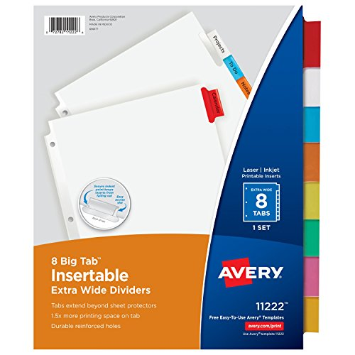 Avery Big Tab Insertable Extra Wide Dividers, 8 Multicolor Tabs, 1 Set (11222) - Sheet Protectors Tabbed