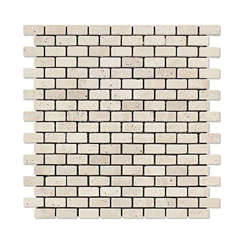 (Ivory (Light) Travertine Mini Brick Mosaic Tile, Tumbled - Box of 5 Sheets)